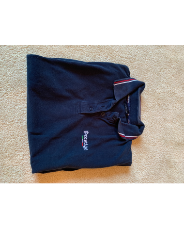Navy Prestige Polo with red and white accents