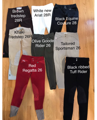 Buy the entire lot of 8 breeches! Sizes between 26-28.