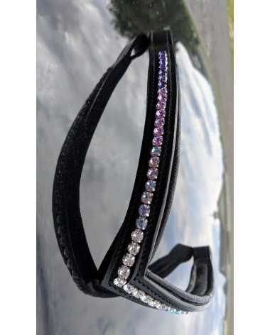 "17"" purple to white fade ombre custom crystal browband - black leather"