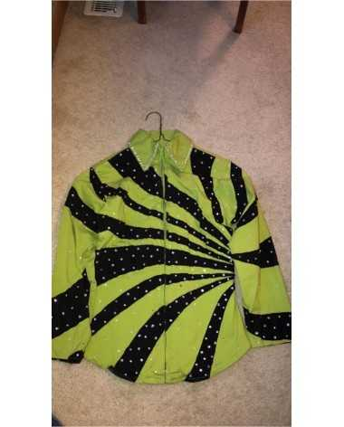 Green and Black Studded Western Show Shirt