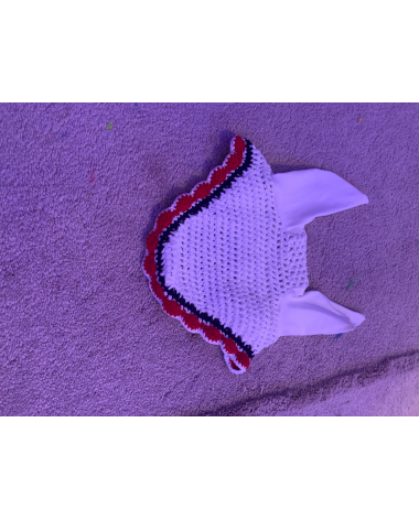 Red white and blue ear bonnet