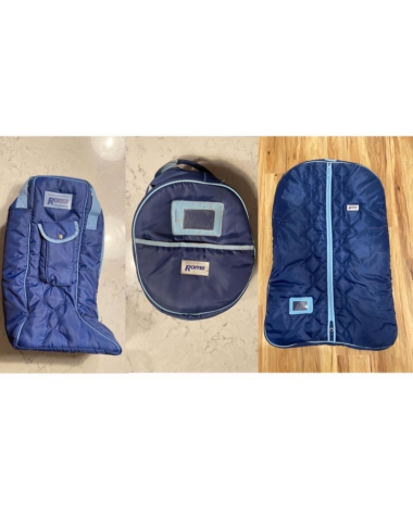 Roma quilted travel helmet, tall boot, & garment bag