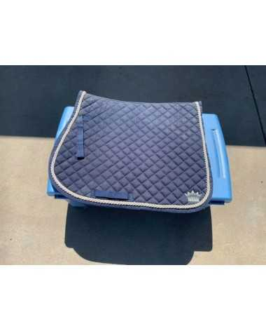 Saddle pad, blue with silver piping and silver crown on side