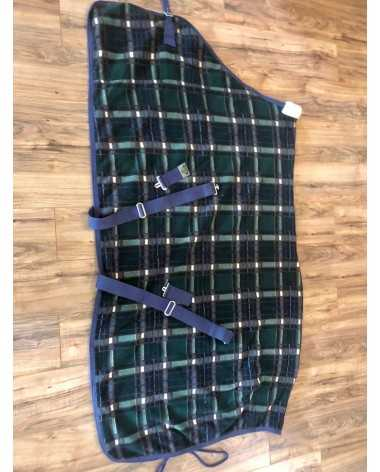SAXON-fleece, poly plaid cooler, navy/green, 72in, 1 chest buckle, 2 cross belly buckles, 1 rump cord,