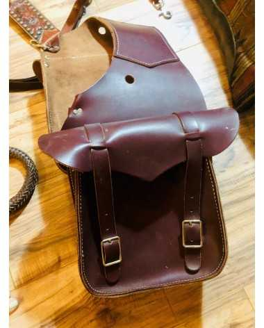 Custom made, large capacity, leather saddle bags