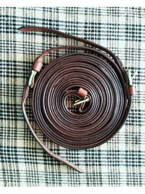 "Top quality, 3/4"" wide leather harness driving reins"