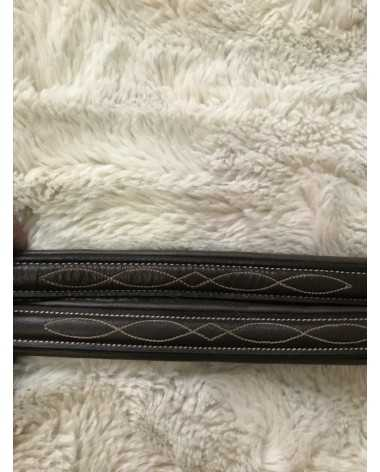 2 Leather Fancy Stitched Hunter Browbands