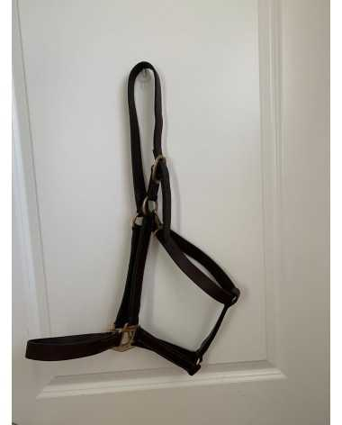 Leather Havana Brown Horse Halter w/Brass Fittings and Clip - Oversize