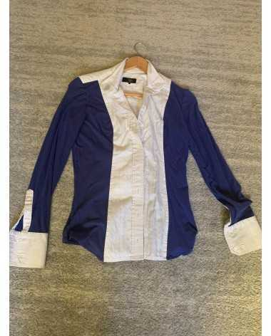 Le Fash Blue and White Magnetic Collar Show Shirt
