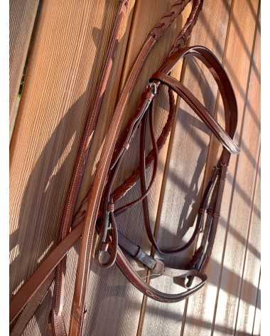 NEW Fancy Stitched Square Raised Bridle with Reins