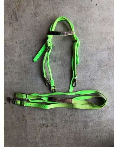 Neon Green Camo Bridle and Reins Set