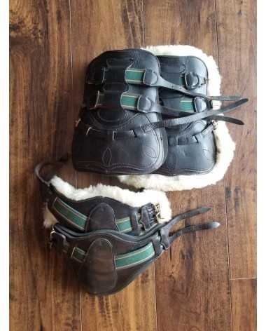 Sheepskin and leather equitation boots