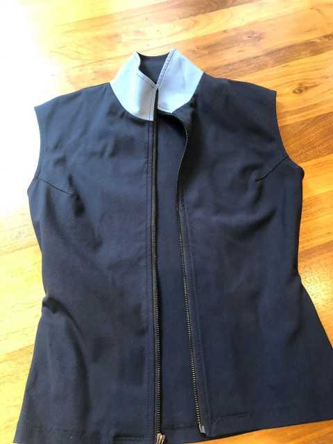 New ! Charles Ancona Navy Vest with French Blue Collar Size XS