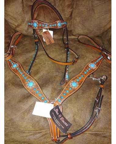 Turquoise Breast collar and head stall