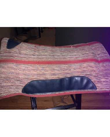 Western saddle pad beige/back and red striped with black details
