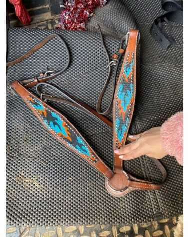 Headstall and breast collar matching set , flames