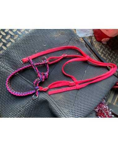 Nylon headstall with side pull , hot pink