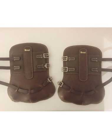 Leather Horse Sized Beval Fleece Lined Open Front Boots - Excellent Condition