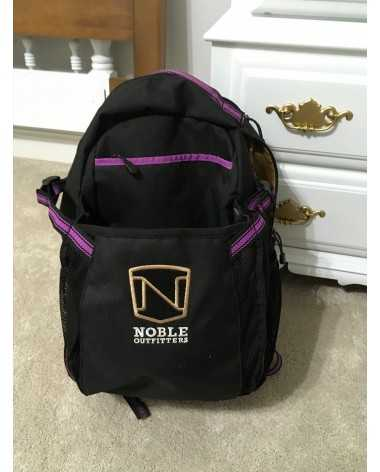 Black and purple riding bag