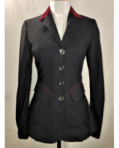 Grand Prix Saltare Premio Ladies Show Jacket - Black/Burgundy - New!