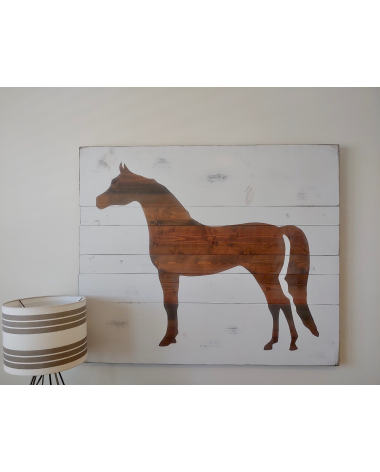 Hand stained and painted horse silhouette artwork