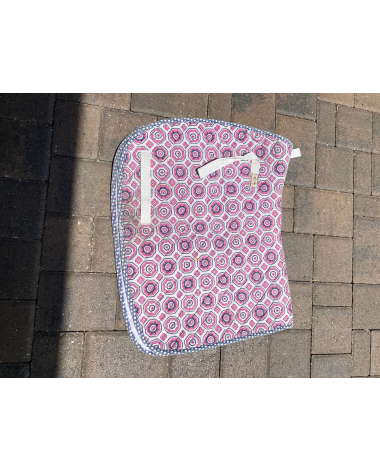 Pink and blue saddle pad