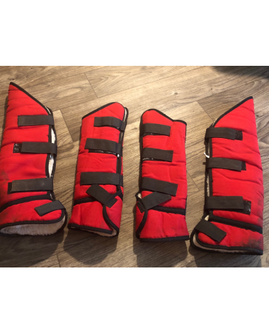 Red pony-sized shipping boots