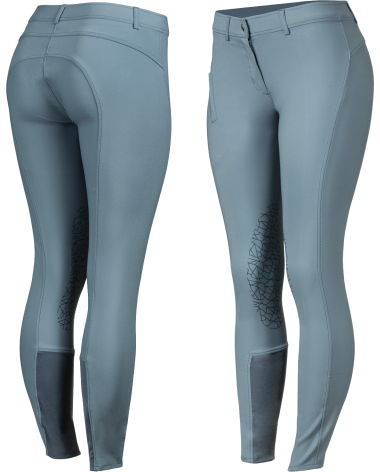 Horze Women's Joanna Knee Patch Breeches - Silicone Grip in Mirage Blue