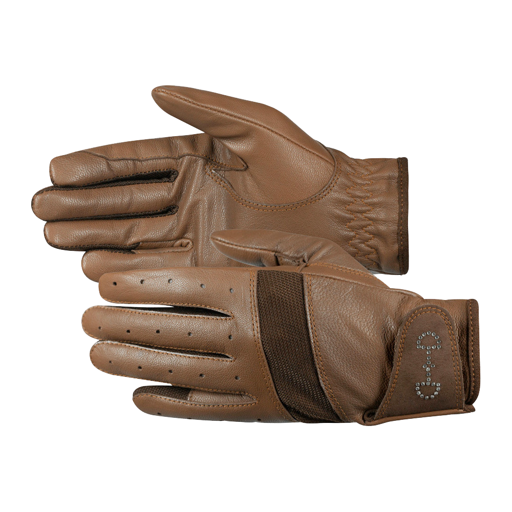 Horze Women's Leather Mesh Riding Gloves in Brown