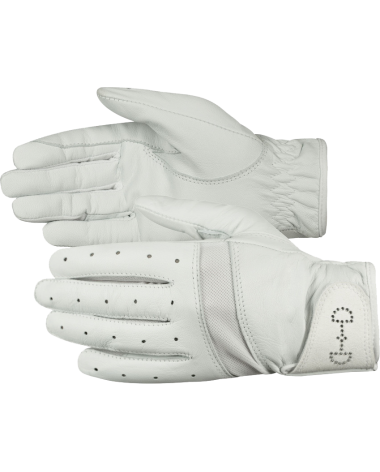 Horze Women's Leather Mesh Riding Gloves in White