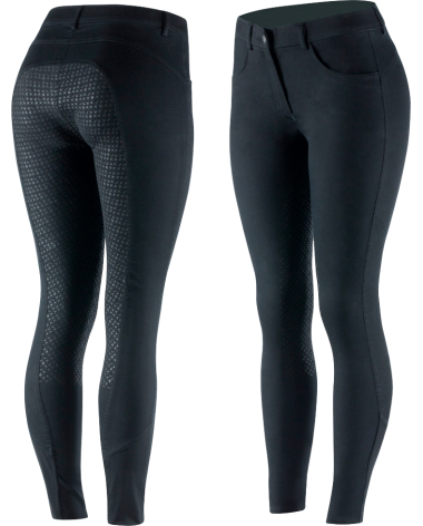 Horze Women's Kate Full Seat Breeches - Silicone Grip in Black
