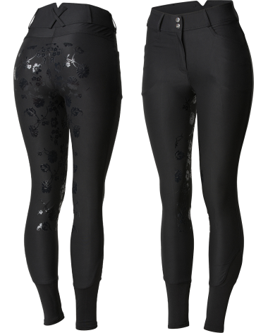 Horze Women's High Waist Floral Silicone Full Seat Breeches in Black