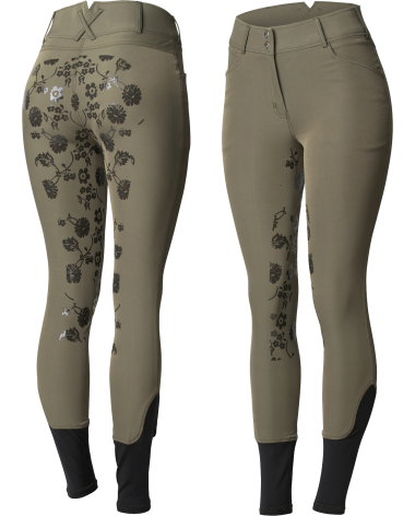 Horze Women's High Waist Floral Silicone Full Seat Breeches in Green
