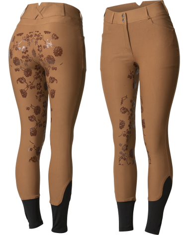 Horze Women's High Waist Floral Silicone Full Seat Breeches in Light Brown