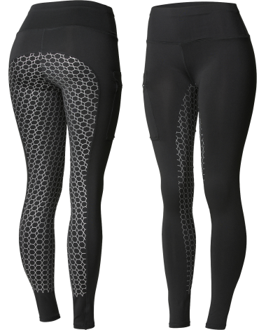 Horze Women's Gia Silicone Full Seat Riding Tights, phone pocket in Black