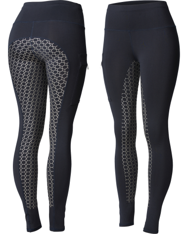 Horze Women's Gia Silicone Full Seat Riding Tights, phone pocket in Dark Blue