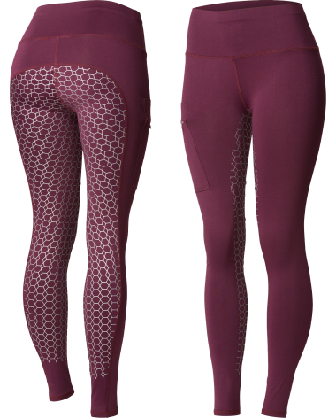 Horze Women's Gia Silicone Full Seat Riding Tights, phone pocket in Dark Red