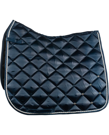 Radiance Dressage Satin Saddle Pad with crystals in Dark Blue