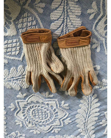Tan and white crochet riding gloves