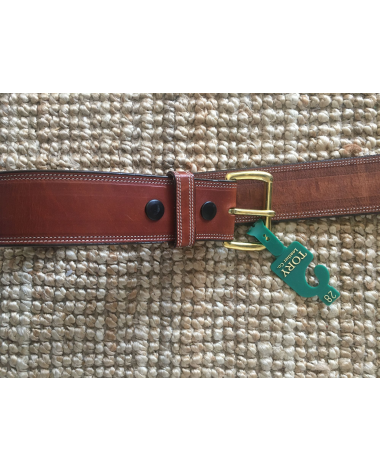 "2"" Tory leather Belt in buck brown size 28"
