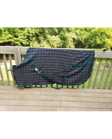 "ORIGINAL 5A BAKER HORSE BLANKET SIZE 66"" Dark Green Tartan Plaid Used"