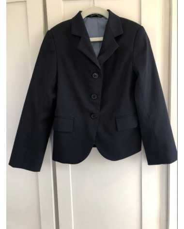 Navy Devon-Aire Child Stretch Poly Wool Coat—Size 12