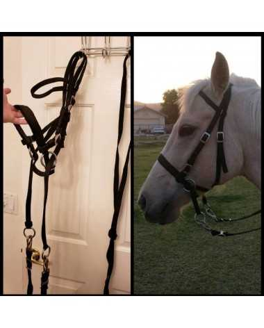 Black Nylon Cross Under Bitless Bridle with Matching Reins