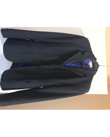 The Wellington Collection Black Hunt Coat w/ Silver Pinstripes, Navy Blue Silk Lining