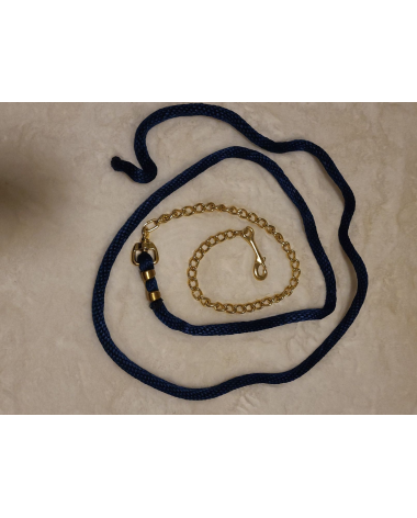 Navy Blue lead with gold chain