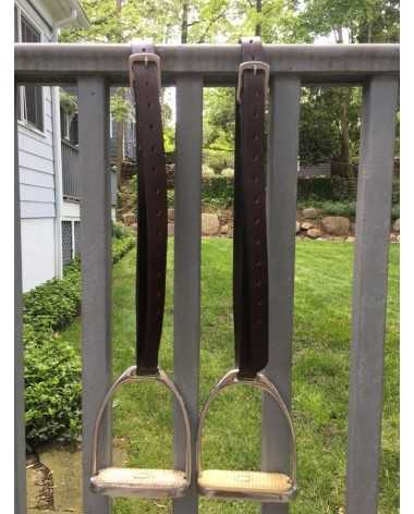 Brown stirrup leathers and silver stirrup irons