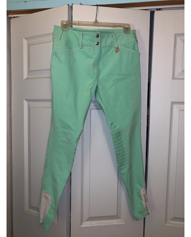Tuffrider Neon Green Knee Patch Breeches 28