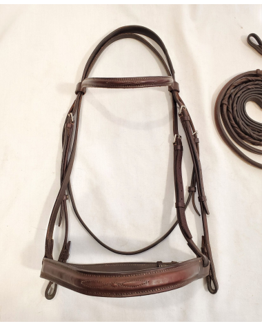 EquuSport Custom Fancy Wide Abrasive Noseband Bridle with Reins - X Full