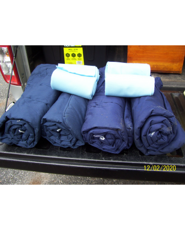 4 Navy Quilts and 4 Baby Blue wraps Horse