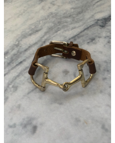 Hand-made Ideana Leather and gold bit bracelet